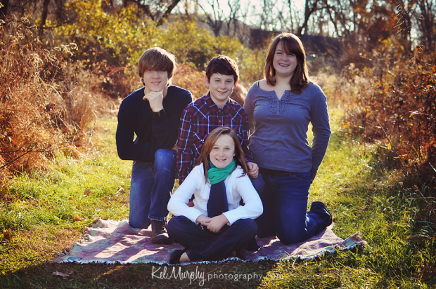 Fall winter family mini session with parents and 4 teenagers in Philadelphia, PA
