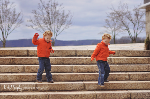 Kel Murphy Photography day 31 artistic edit of son walking down steps