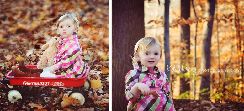 Kel Murphy Photography fall one year old toddler and stuffed dog sitting in red wagon in Philadelphia, PA