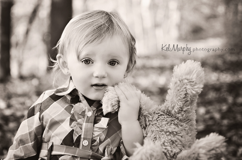 Kel Murphy Photography fall one year old toddler and stuffed dog in Philadelphia, PA