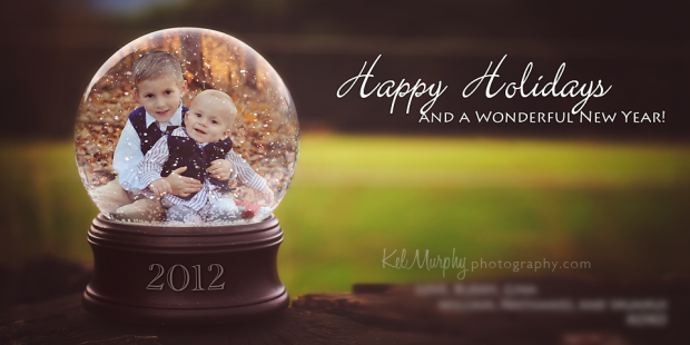 Kel Murphy Photography winter christmas holiday card design for gorgeous family sunset outdoor session, two little boys