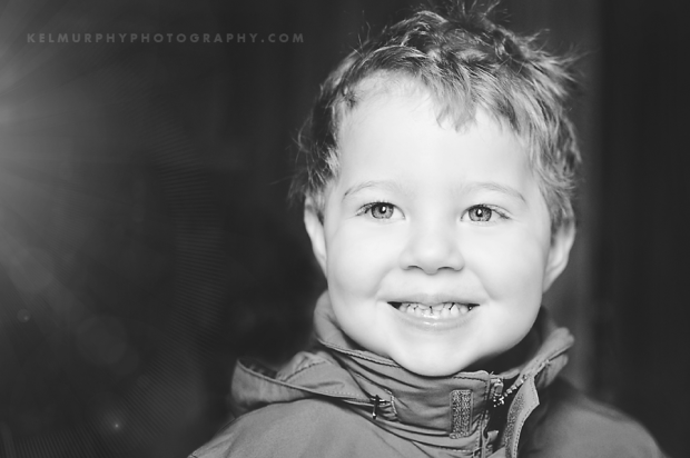 Kel Murphy Photography Day 50 of 365 BW contrast image of son smiling