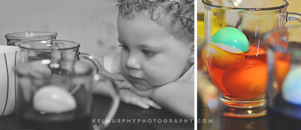 Kel Murphy Photography Day 53 of 365 Diptych of son dying easter eggs
