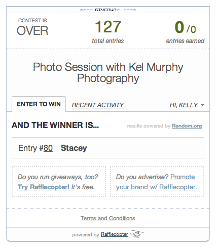 Kel Murphy Photography photo session giveaway winner rafflecopter