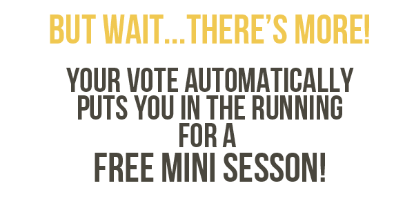But wait there's more! Your vote automatically puts you in the running for a free mini session!