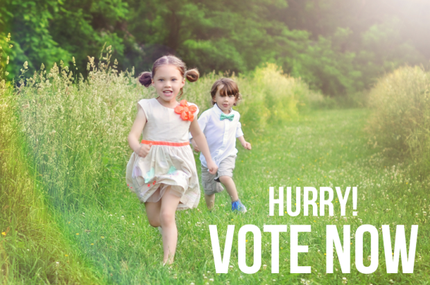 Brother and Sister running in field, text says hurry vote now!