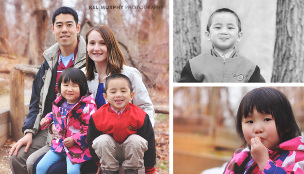 Family of four smiling in the park and two separate photos of chinese children