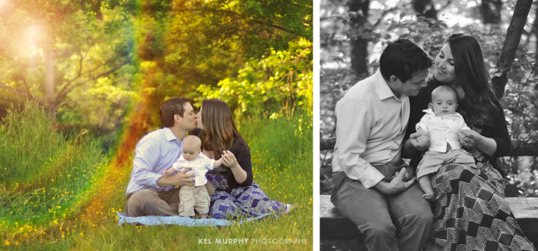 Lifestyle images of parents and 4 month old baby boy sitting outside surrounded by yellow spring flowers