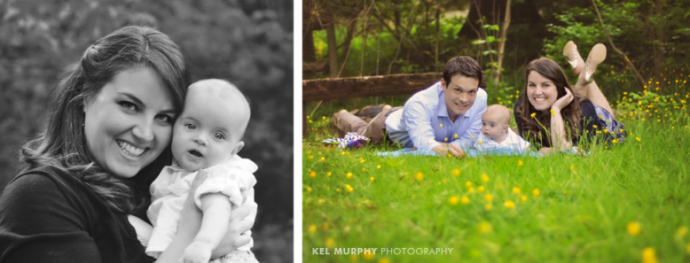4 month old baby boy and Mommy and parents and son laying on stomach outside surrounded by yellow spring flowers