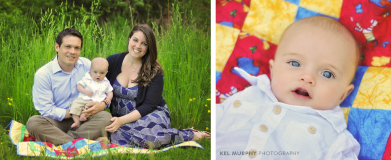 4 month old baby boy laying on colorful quilt and Parents sitting with him outside in the spring