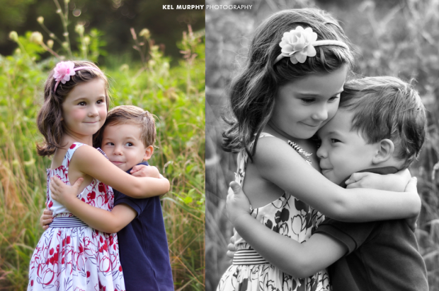 Young sister hugging her little brother