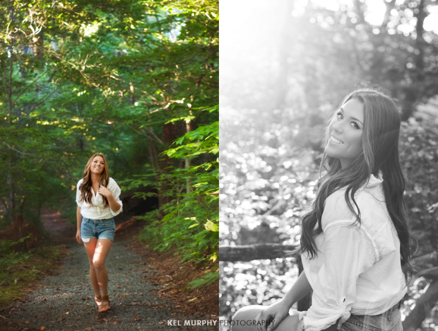 Pretty high school senior girl standing in forest and sitting on bench