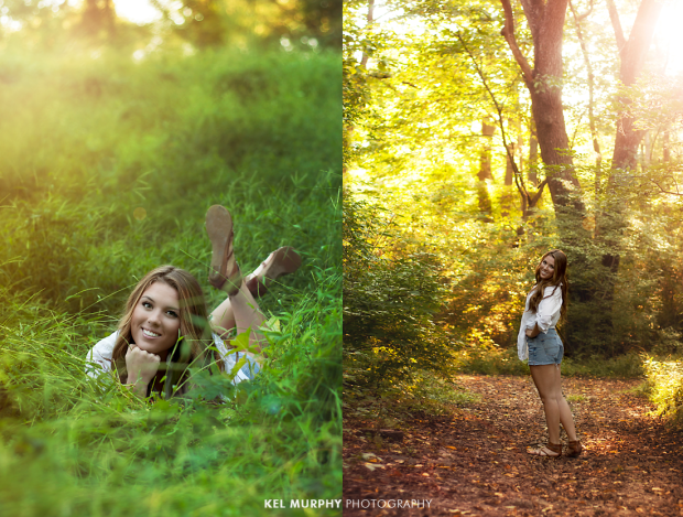 Pretty high school senior girl laying on grass and standing in forest