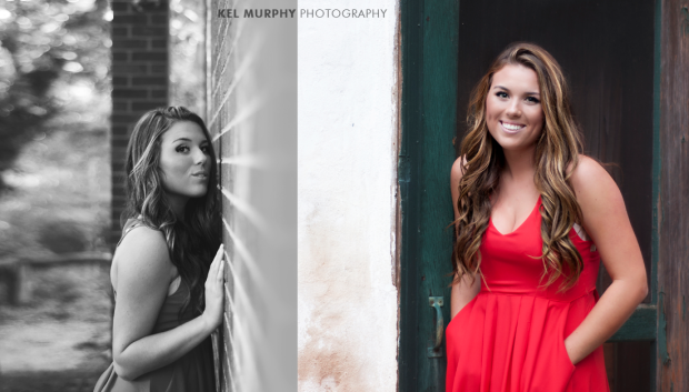 Pretty high school senior girl in red dress leaning on green door and brick wall