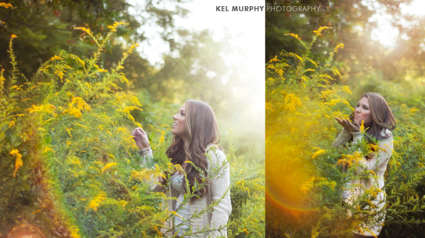 Pretty high school senior girl standing in goldenrod plants with rainbow sunflare