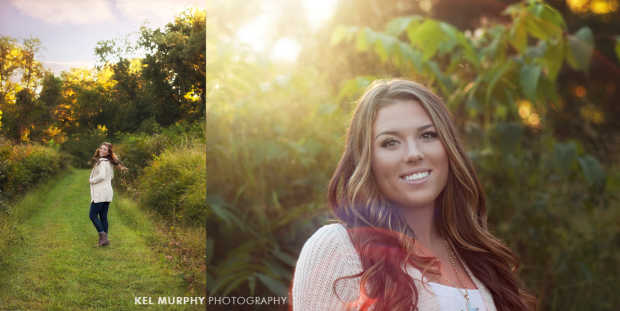 Pretty high school senior girl walking in forest turning head back to camera and red sunflare
