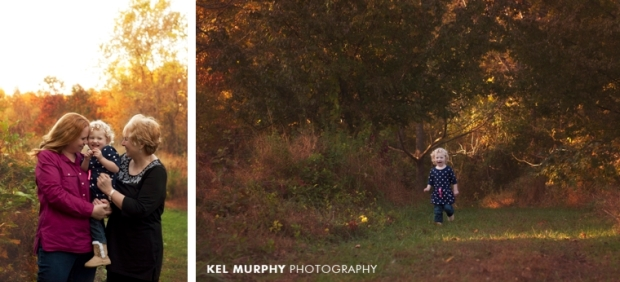 Two year old little girl with curly blonde hair outside in the fall with Mommy and Grandmom