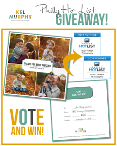 Kel Murphy Photography Best Children's Photographer, Best Portrait Photographer on Philly Hot List. Giveaway Vote and Win $100