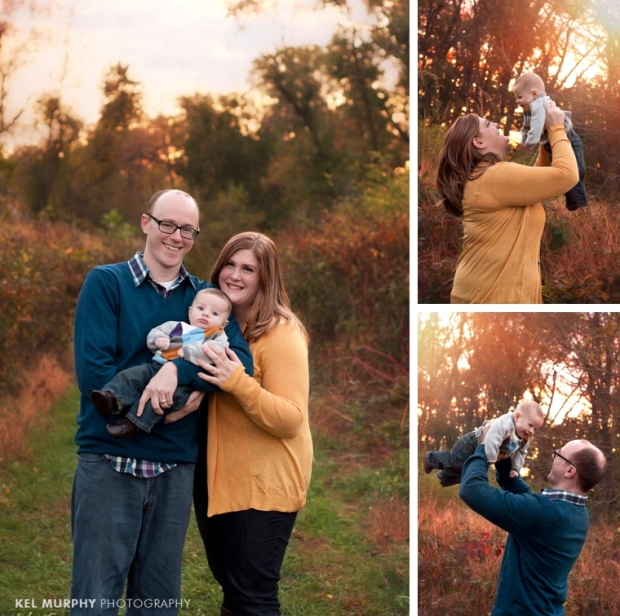 Kel Murphy Photography family of three, 3 month old baby boy and parents holding him up in the air in the fall