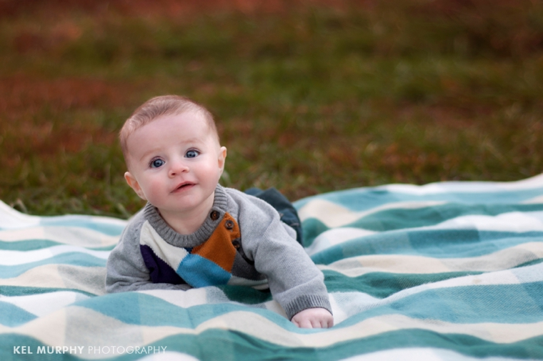 Kel Murphy Photography 3 month old baby boy laying on stomach on blanket outside in the fall in Philadelphia, Abington, PA