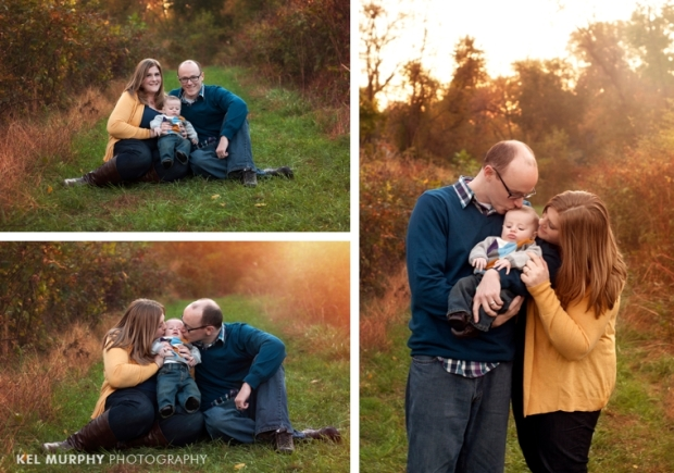 Kel Murphy Photography family of three with 3 month old baby boy kissing outside in the fall