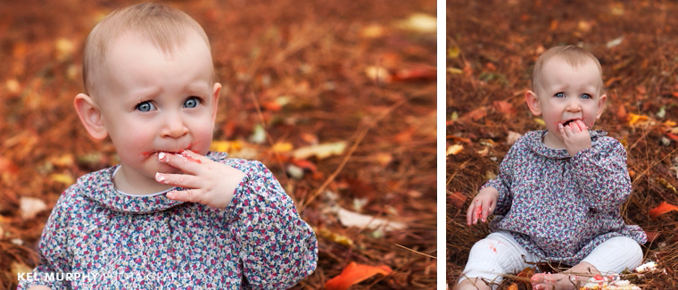 Kel-Murphy-Photography-Philadelphia-Child-Photographer-Montgomery-County-Bucks-County-Family-Huntingdon-Valley-Rydal-Families-Children-High-School-Senior-Portraits-cake-smash-one-year-old-girl-outside-fall-leaves