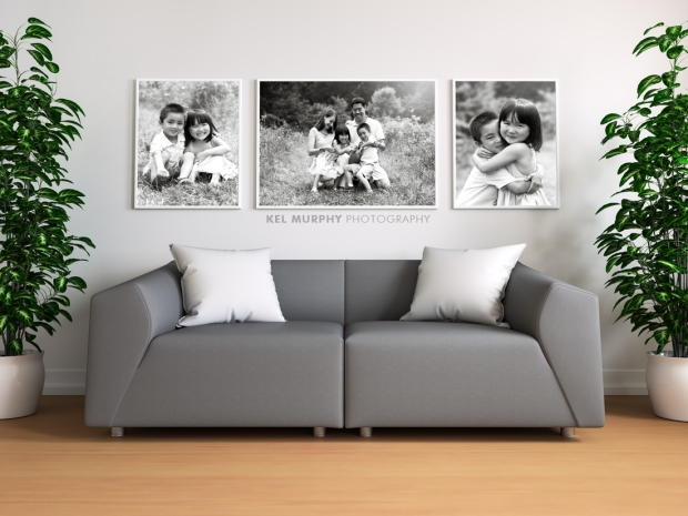 Custom wall art home decor modern living room black and white three framed photos with gray sofa by Kel Murphy Photography