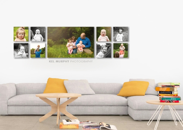 Custom wall art canvas cluster home decor contemporary living room by Kel Murphy Photography