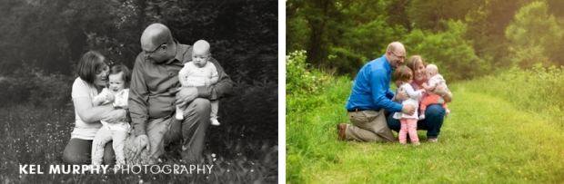family of four outside in spring cuddling photo shoot session by Kel Murphy Photography