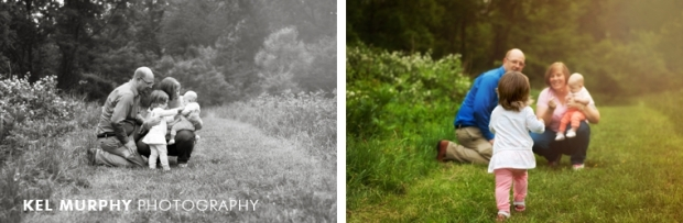family of four little girl running in spring by Kel Murphy Photography