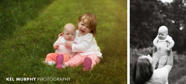 little sisters sitting outside in spring by Kel Murphy Photography